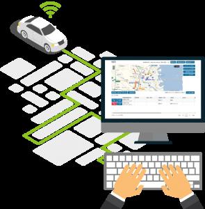 パソコンの管理画面からいつでも社用車の位置を確認可能!